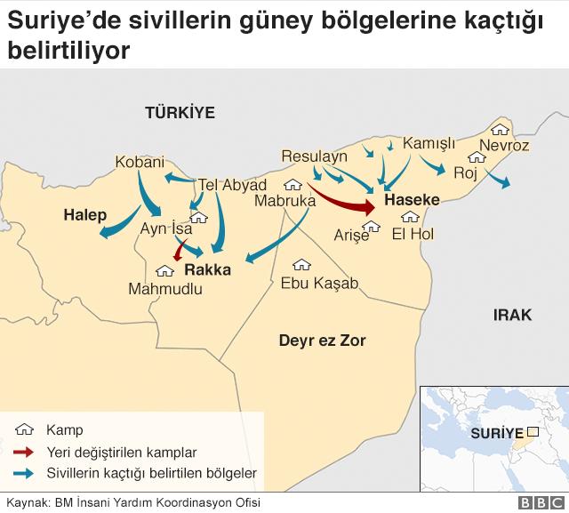 Suriye'de güney bölgelerine kaçan siviller