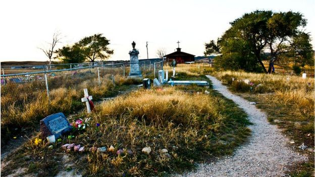 The cemetery for victims of the Wounded Knee Massacre in South Dakota