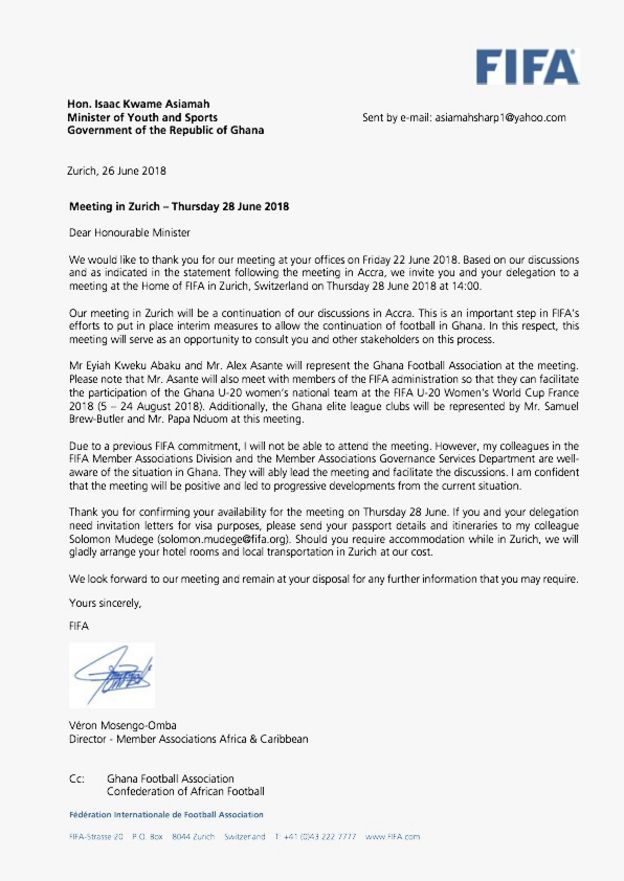 Fifa invite ghana delegate to zurich over football management wahala letter of invitation wey fifa send give ghana minister of youth and sports stopboris Image collections