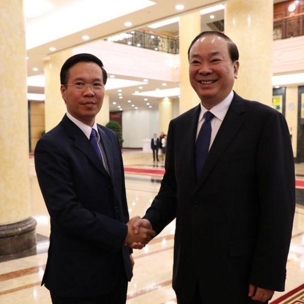 Trưởng ban Tuyên giáo Trung ương Võ Văn Thưởng gặp ông Hoàng Khôn Minh sáng 5/7 tại Hà Nội.