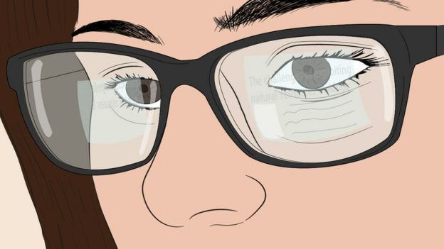 Illustration of a woman with glasses with a screen reflected in the glasses.