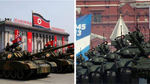 Desfiles de Corea del Norte y Rusia.