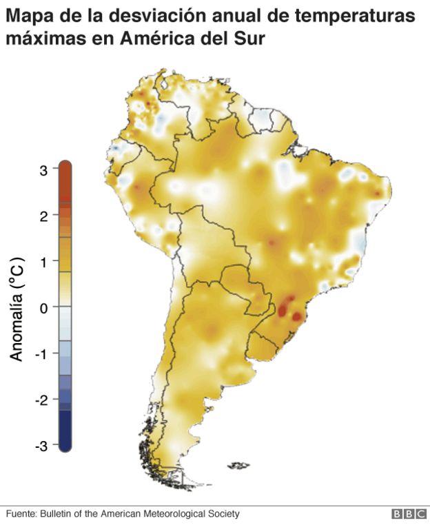 Mapa de desviación anual de temperaturas máximas en América del Sur