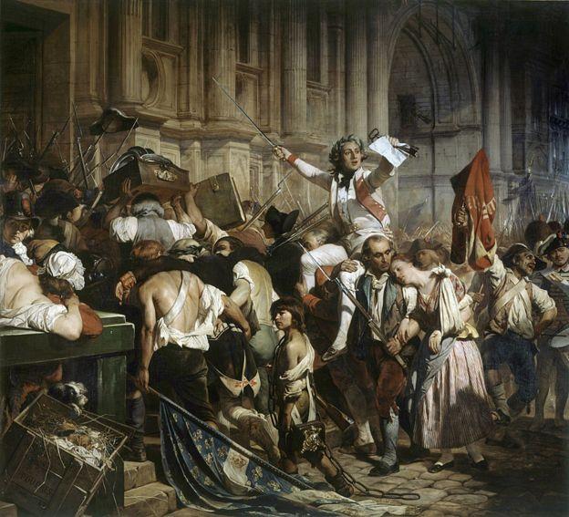 Los conquistadores de la Bastilla frente al Hotel de Ville en 1789. Pintura de Hippolyte Delaroche 1797-1856