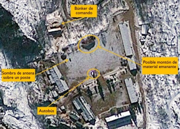 Imágenes satelitales del sitio nuclear en Punggye-ri resaltando señales de una posible preparación de una prueba nuclear (23 de enero, 2013)