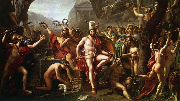 Leonidas en las Termópilas (1814). Leonidas, rey de Esparta, en el pase de las Termópilas con sus hombres luchando contra el ejército persa en una obra del pintor francés Jacques Louis David (1748-1825)