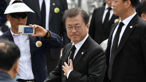 Moon Jae-in en una ceremonia prodemocracia, mayo de 2020.