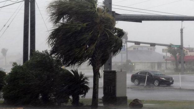 A motorist drives through heavy rain before the approaching Hurricane Harvey hits Corpus Christi (25 August 2017)