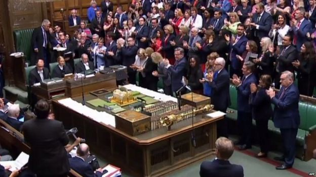 MPs applauding Mr Bercow after the Speaker announced his planned departure next month