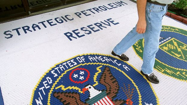 A mat on the floor welcomes people to the Strategic Petroleum Reserve headquarters in Texas