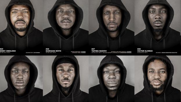 56 hombres negros vistiendo sudaderas con capucha