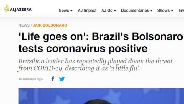 Reportagem da emissora Al Jazeera sobre diagnóstico positivo de Jair Bolsonaro