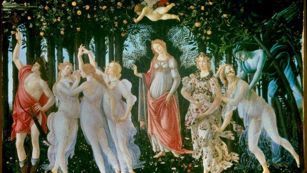 La Primavera, de Sandro Botticelli, se encuentra en la Galería de los Uffizi de Florencia.