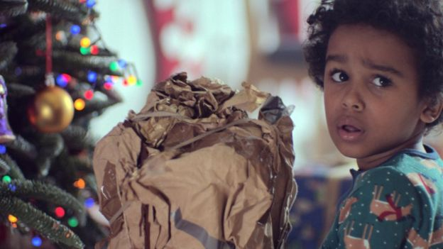 a still from the John Lewis Christmas ad showing a little boy