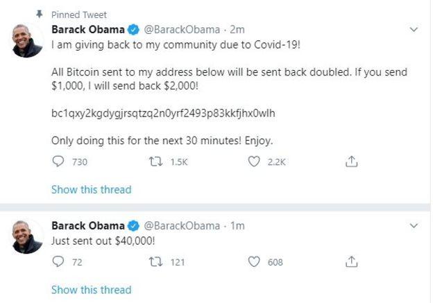 Un tuit desde la cuenta de Barack Obama