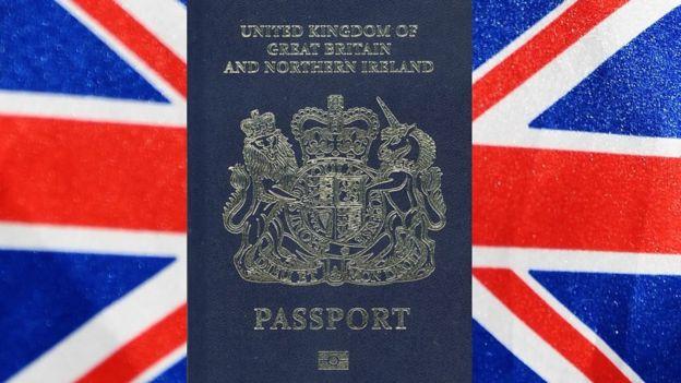 Blur British passport and Union flag