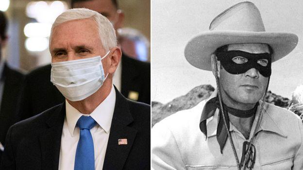 Вице-президент США Майк Пенс в маске и Одинокий рейнджер