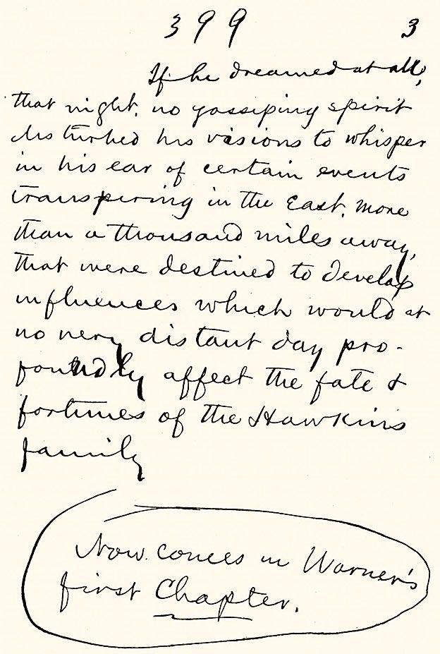 """Una página del manuscrito manuscrito de Mark Twain de """"La era dorada: Un cuento de hoy"""" (1873). (Foto por Culture Club / Getty Images)"""