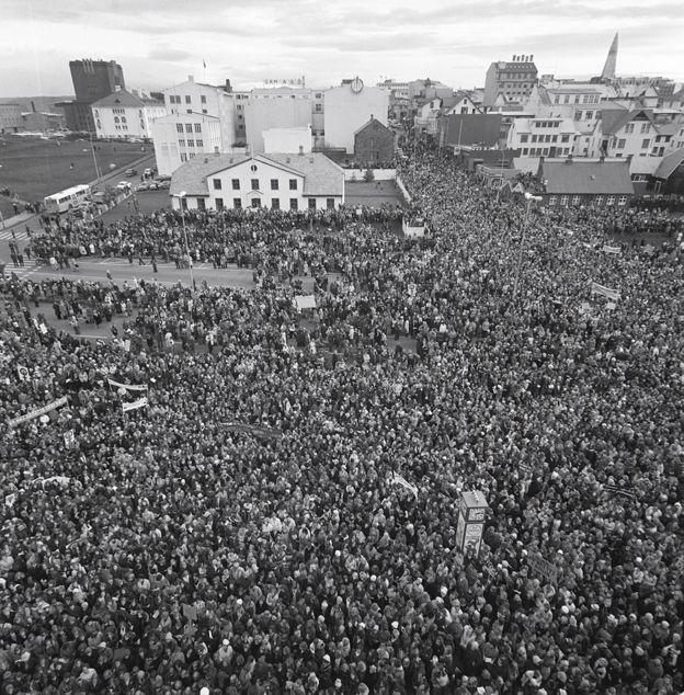 Crowd in Reykjavik