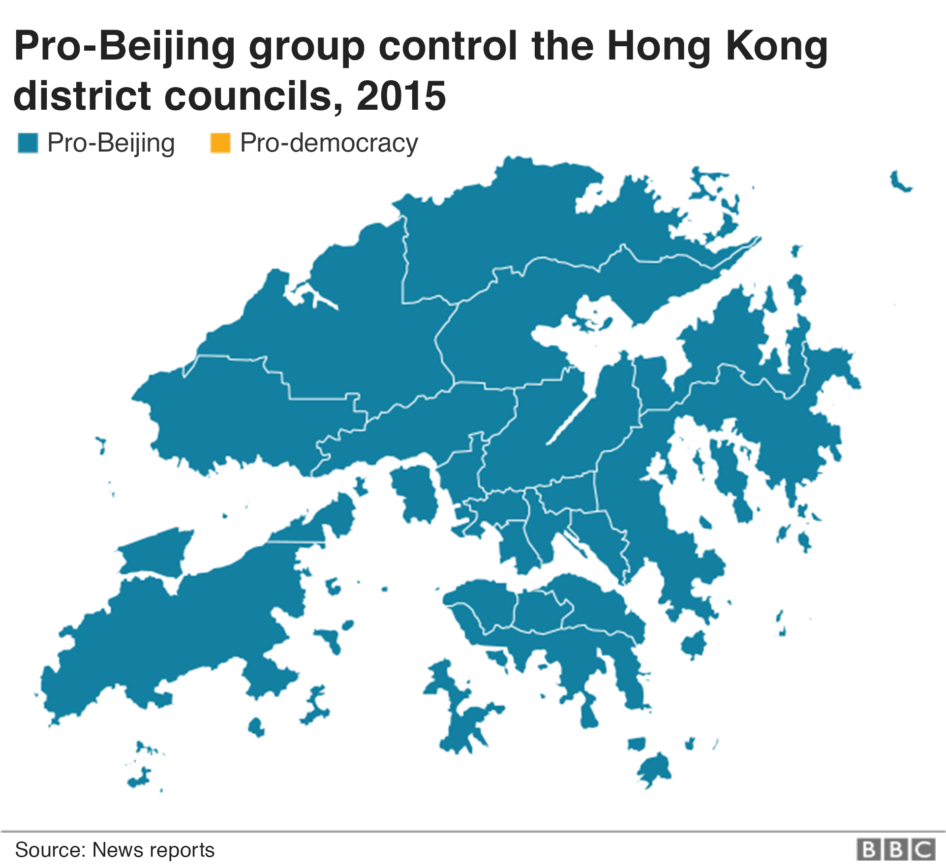 A map shows control of the district councils in 2015
