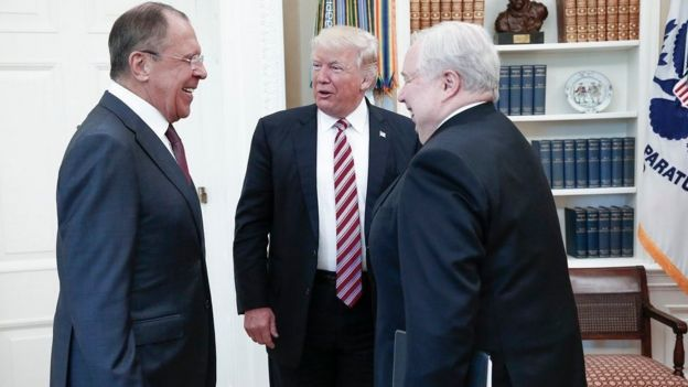 A file handout photo made available by the Russian Foreign Ministry shows US President Donald J. Trump (C) speaking with Russian Foreign Minister Sergei Lavrov (L) and Russian Ambassador to the U.S. Sergei Kislyak