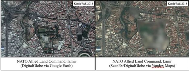 A comparison between Google Earth and Yandex satellite pictures