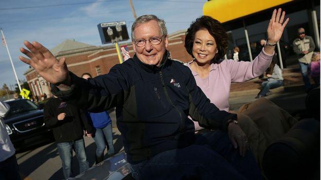 Kentucky Senator Mitch McConnell and his wife, US Transportation Secretary Elaine Chao