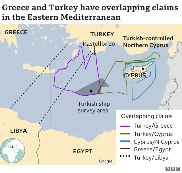 Map showing competing claims in Eastern Mediterranean