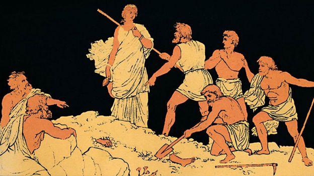 Antígona enterrando a su hermano