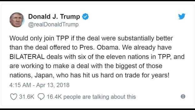 """Ông Trump nhắn trên Twitter hôm 13/04 """"Sẽ chỉ tham gia Hiệp định Đối tác xuyên Thái Bình Dương (TPP) nếu thỏa thuận đạt được tốt hơn so với thỏa thuận dưới thời TT Obama""""."""