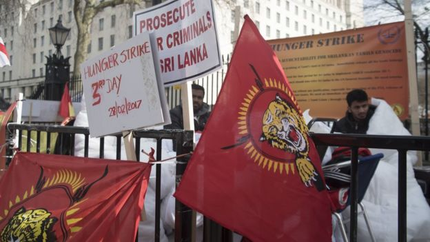 Tamil demonstrators in London protest against the Sri Lankan government