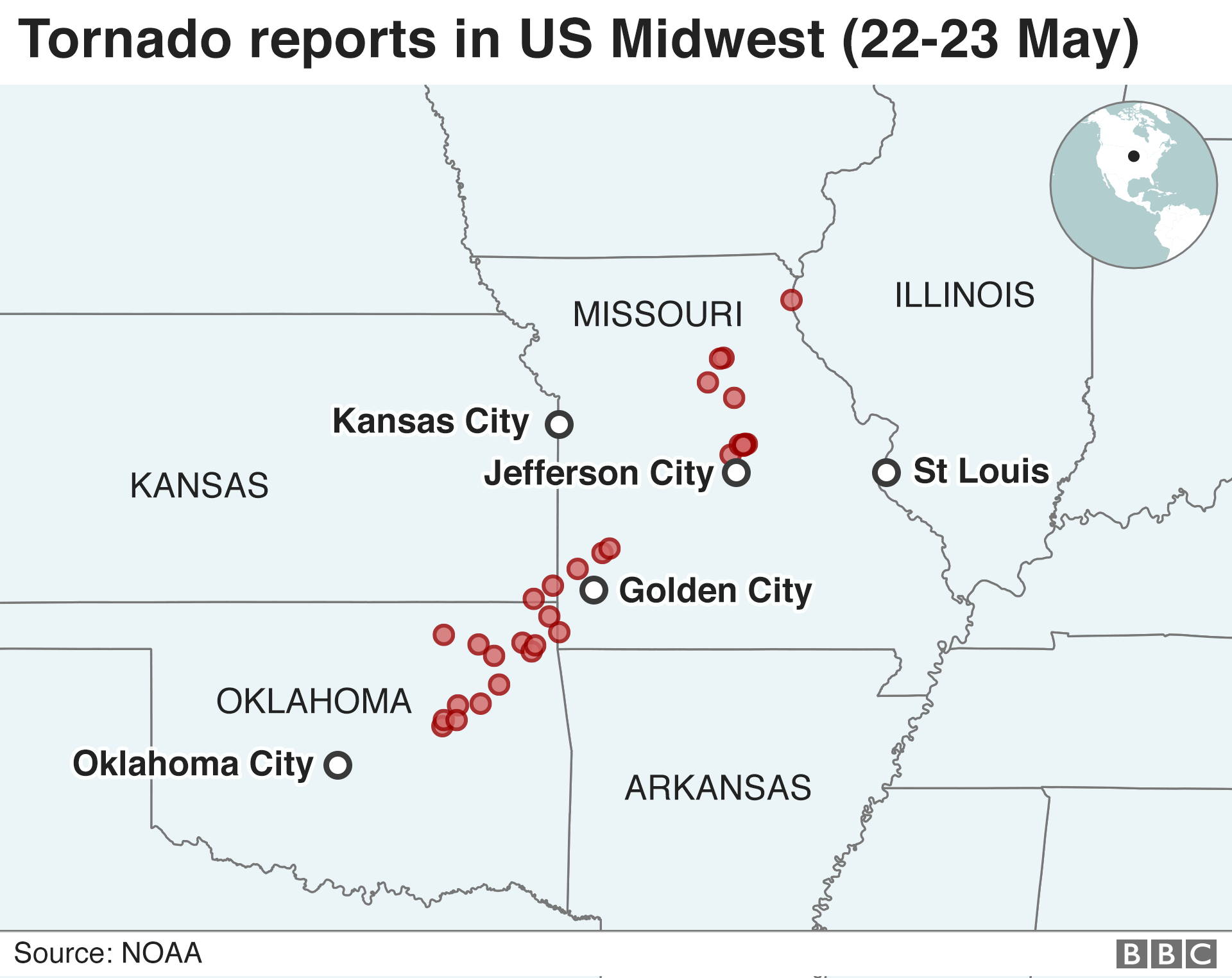 Killer Tornado Hurls Us Elderly Couple From Home Bbc News - Us-tornado-map