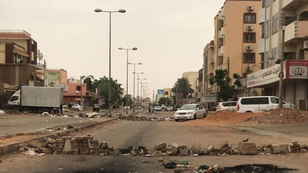 Deserted street in Khartoum, 4 June