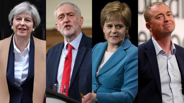 Theresa May (Partido Conservador), Jeremy Corbyn (Partido Laborista), Nicola Sturgeon (Partido Nacional Escocés), Tim Farron (Liberal Demócrata)