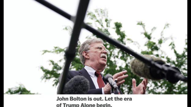 """وکس، نشریه چپ لیبرال آمریکا در یادداشتی پایان حضور جان بولتون در کاخسفید را آغاز """"خودمحوری مطلق"""" دونالد ترامپ بر سیاست خارجی آمریکا خوانده"""