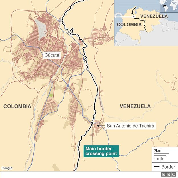 Map of Colombia-Venezuela border region