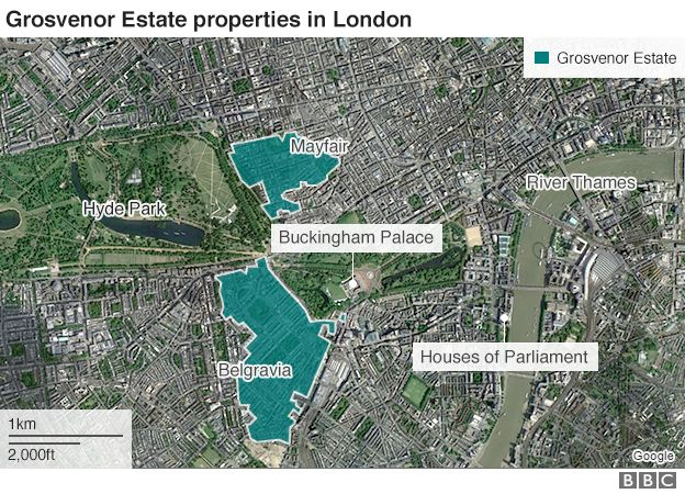 Map of Grosvenor Estate properties in London