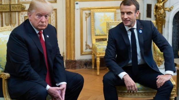 امانوئل مکرون(راست) در کنار دونالد ترامپ