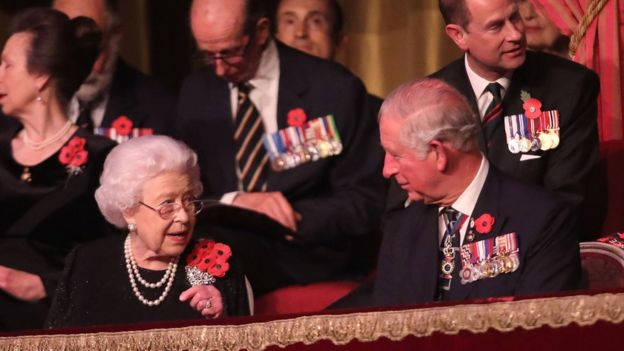 Queen Elizabeth II and Prince Charles, Prince of Wales attend the Royal British Legion Festival of Remembrance
