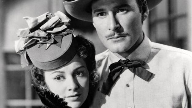 De Havilland with Errol Flynn in Dodge City (1939)