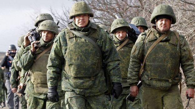 Pro-Russian militants march during the forces disengagement near the Petrivske village, Ukraine, 09 November 2019