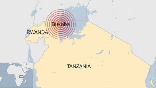 Map showing Tanzania and Bukoba, where earthquake hit in September 2016