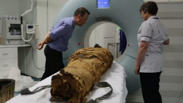 Nesyamun being scanned at a hospital in Leeds