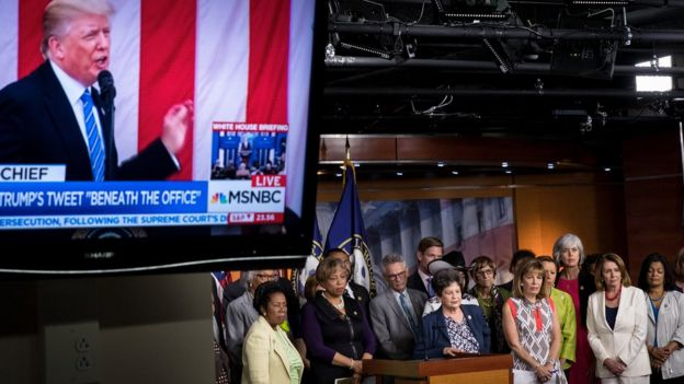 The House Democratic conference hold a press conference concerning President Donald Trump's controversial tweets, on Capitol Hill, June 29, 2017