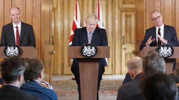 Sage üyesi Profesör Chris Whitty, İngiltere Başbakanı Boris Johnson ve bir diğer Sage üyesi Sir Patrick Vallance