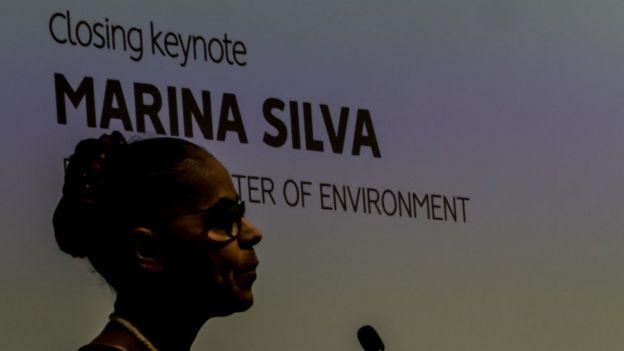 A ex-senadora Marina Silva durante palestra em Oxford (Inglaterra)