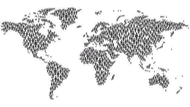 Dibujo de un mapa mundial con íconos de personas.