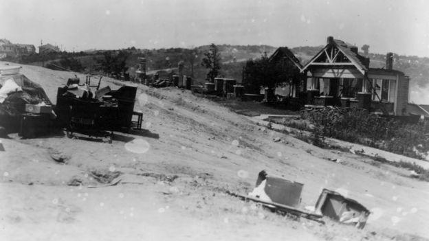 Destrozos en Tulsa, Oklahoma, en 1921