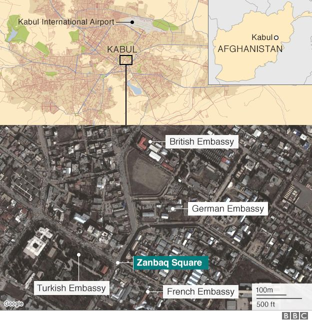 Kabul Bomb Diplomatic Zone Attack Kills Dozens BBC News - Us invasion of afghanistan everyday map