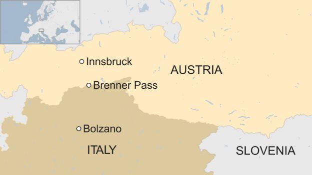Map of Austrian border